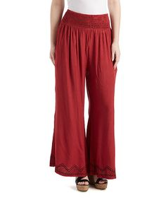 Love this Maroon Embroidered-Hem Palazzo Pants on #zulily! #zulilyfinds