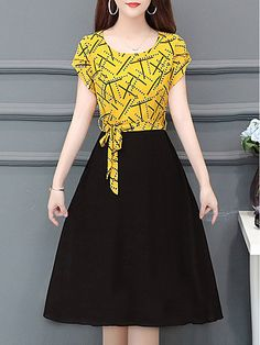 Round Neck Printed Skater Dress # Buy Affordable And Fashionable Women's clothing Online. Buy Shoes, Bags, Dresses Etc Casual Dresses, Fashion Dresses, Fashion Styles, Floral Skater Dress, Midi Dresses Online, Dress Silhouette, Two Piece Dress, Collar Dress, Buy Dress