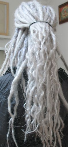 grey dreads with pale purple bits...love it.