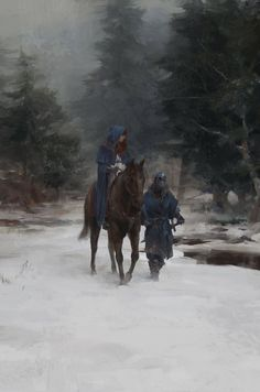 Fantasy Art Engine | Trio, Horses, Escort and River by Sean Silvestre