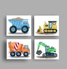 Construction truck art prints for boy nursery bedroom, digital images instant do… - Modern Monster Truck Room, Monster Trucks, Boy Girl Bathrooms, Airplane Wall Art, Mermaid Wall Art, Truck Art, Nursery Wall Art, Nursery Prints, Baby Boy Nurseries