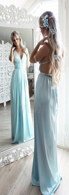 9f340dfe25d Summer A-Line Mint Chiffon Prom Dress, Modest Spaghetti Straps Floor-Length  Evening