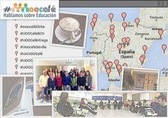 Collage de imágenes #MOOCafeMálaga #eduPLEmooc Hablamos sobre #PLE en la escuela