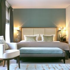 Taupe and Teal bedroom