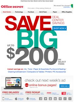 Office Depot email 2014  email design, email marketing, emails