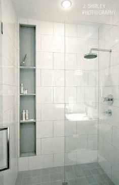 New bathroom modern white shower niche ideas White Shower, White Bathroom, Modern Bathroom, Small Bathroom, Bathroom Showers, Remodled Bathrooms, Master Bathroom, Master Shower, Bathroom Storage