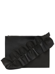 LEATHER POUCH W/ RUFFLE DETAIL