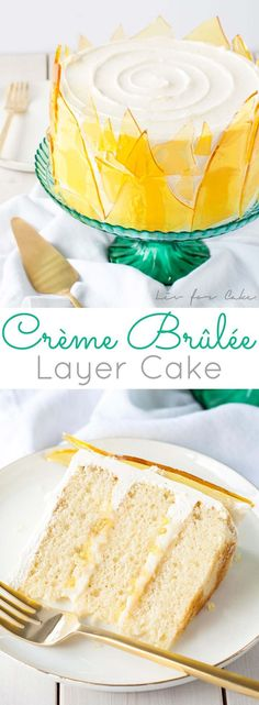 dessert gets a major transformation with this decadent Crème Brûlée Cake! Layers of vanilla bean cake, vanilla custard, and crunchy bits of caramelized sugar. All covered with a silky Swiss meringue buttercream and decorated with caramel sugar shards. Vanilla Desserts, Vanilla Bean Cakes, Just Desserts, Delicious Desserts, Swiss Desserts, Mini Cakes, Cupcake Cakes, Cake Icing, Creme Brulee Cake