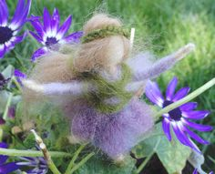 Needle Felted Flower Fairy, Tiny,