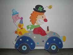 Tonkarton Fensterbild  ~ Clown im Auto  ~ Karneval Fasching  XXL 33 x 30 cm