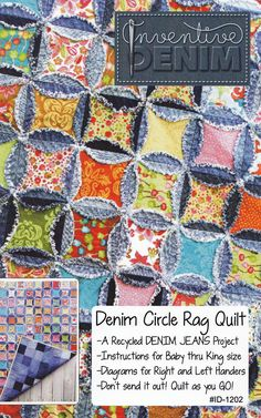 PATTERN- Denim Circle Rag Quilt pattern UPDATED (use your Recycled Denim Jeans) Buying is not necessary, just sandwich the material between jeans, quilt the ovals and cut out the middle. Quilting Projects, Quilting Designs, Sewing Projects, Blue Jean Quilts, Denim Quilts, Cathedral Window Quilts, Cathedral Windows, Rag Quilt Patterns, Circle Quilts