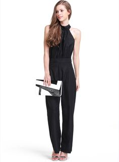 Black Halter Backless Bow Loose Jumpsuit 18.83