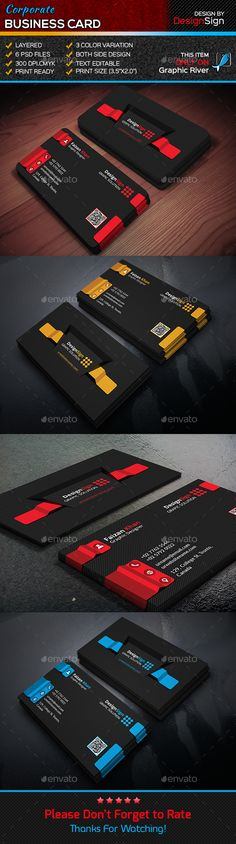 This is a Corporate Business Card. This template download contains 6 PSD files, which is 300 dpi, CMYK files. All main elements ar