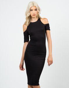 Cold Shoulder Midi Dress - Black Dress - Midi Dress – Dresses – 2020AVE