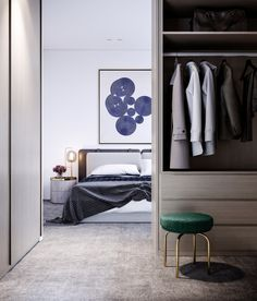 Luxury lifestyle residences include large master bedroom with neutral colors & plenty of design ideas including ample storage space, thanks to the walk in robe. Click for more. #bedroom #decor #storage #interiordesign #style #wardrobe #architecture #layout #home #modernhousedesign #closet #contemporary #stool #bed #furniture