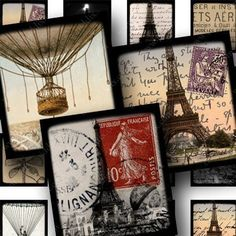 Sized for scrabble tiles to make pendants and magnets. 63 little French and Eiffel Tower collages. #Printables 681 by piddix.