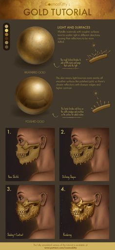 Gold Tutorial by CosmosKitty on DeviantArt Digital Painting Tutorials, Digital Art Tutorial, Art Tutorials, Draw Tips, Gold Drawing, Basic Drawing, Composition Art, Digital Texture, Online Drawing