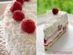 Lemon and Raspberry Birthday Cake- Yummy!    http://cafefernando.com/lemon-and-raspberry-birthday-cake/