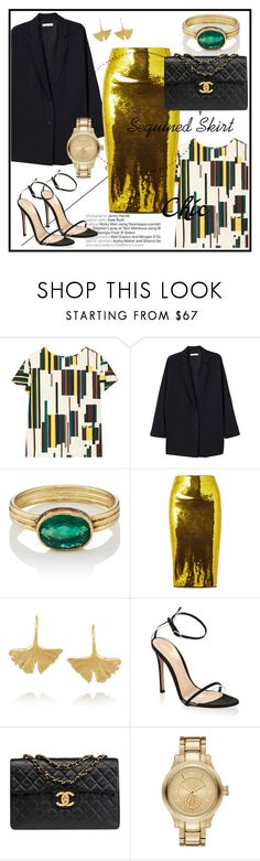 """""""Favorite Item: Sequined Skirt"""" by elenzark ❤ liked on Polyvore featuring Marni, MANGO, Judy Geib, Tom Ford, Aurélie Bidermann, Gianvito Rossi, Chanel and Karl Lagerfeld"""