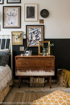 Modern Vintage Small Bedroom Makeover - eclectic modern vintage style bedroom makeover / Grillo Designs www. Vintage Bedroom Styles, Bedroom Vintage, Vintage Home Decor, Vintage Bedroom Furniture, Modern Vintage Bedrooms, Vintage Nightstand, Bedroom Modern, Trendy Bedroom, Industrial Bedroom Furniture