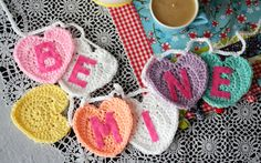 Be Mine Garland Twinkie Chan Free Pattern Crochet Heart Valentines Day Crochet Garland, Crochet Motif, Crochet Yarn, Easy Crochet, Free Crochet, Crochet Patterns, Crochet Bunting Free Pattern, Crochet Appliques, Irish Crochet