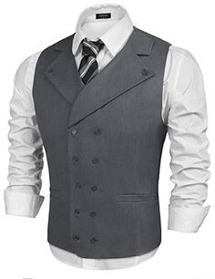 Buy Coofandy Men Suit Vest Solid Double Breasted Slim Fit Business Dress Waistcoat, Gray, Large at Discounted Prices ✓ FREE DELIVERY possible on eligible purchases. Waistcoat Men, Mens Suit Vest, Mens Suits, Men's Business Outfits, Business Dresses, Big Man Suits, Large Men Fashion, Style Costume Homme, Gilet Costume