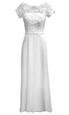 Lace Sleeve Wedding Dress with Embellishment (102500)  £450.00 This ivory wedding dress is a simple style covering with laced bodice, cap sleeves and pearl buttons at the back.  A perfect styles for brides who seek for a traditional style without the traditional fuller skirt.