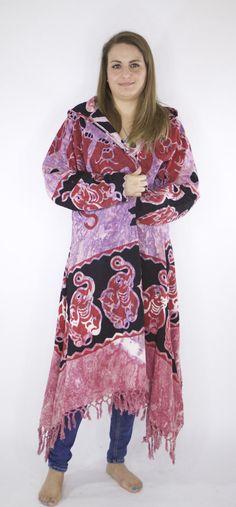 TRENDYBEGGARz Tie Dye/Elephant Print Festival Jacket. In Pink, purple & black. Free Spirit Clothing. Bohemian/Hippie style. Handmade.