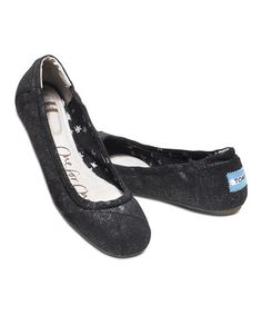Look at this #zulilyfind! Jet Black Metallic Linen Ballet Flat #zulilyfinds