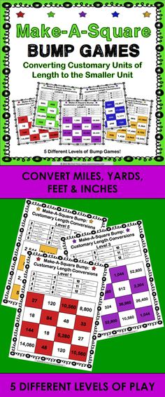Length Conversions Bump Games contains five different games to help students practice converting units of length in the customary system from larger units to smaller units (Common Core 4.MD.A.1). As students work through these games, each one ramps up in difficulty (see the preview file to see a sample of each level). This means that you can have all of your students working at their appropriate level when using this set!