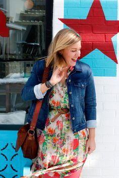 Cville Niche Dressing Up with The Yellow Button: Waiting on Spring   3J Workshop (Johnny Was) dress / Level 99 denim jacket / Sambrown braided leather belt / Crossbody @The Frye Company bag / Courtney Stud Overlay Frye boots / @Chan Luu wrap bracelet / Jaime Driver leather bracelet / by boe earrings / by boe necklace / Roost ring #spring #springstyle #springfashion #fashion #style #whatiwore #ootd #floraldress #shirtdress #denimjacket #jeanjacket #booties