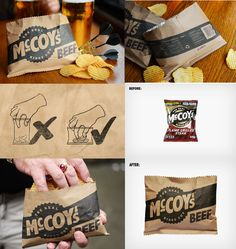 "McCoy's are known as ""Man Crisps"", so BTL Brands gave them the manliest chips bag as they simply designed it in landscape format, instead of portait like every other bag. Now even the manliest of men with the biggest hands can fit them into the bag! PD"