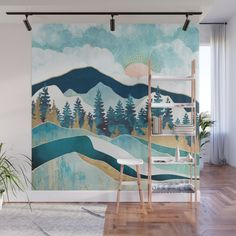 Design your everyday with removable nature landscape wall murals you'll love. Make a bold statement in your home with artwork from independent artists worldwide. Mountain Mural, Mountain Paintings, Forest Mural, Room Wall Painting, Forest Painting, Landscape Walls, Inspiration Wall, Patio, Wall Murals