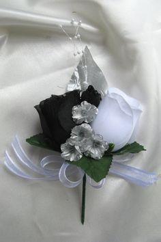 black silver wedding bouquets   31pc Wedding Cascade Bouquet Silk Bridal Flowers Black White Silver ...