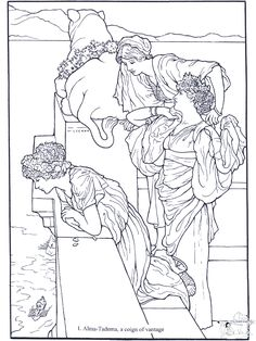 Coign of Vantage, by Alma-Tadema: This site makes you sit through a short ad before loading the coloring page.