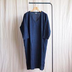 V Neck Dress #raw silk navy