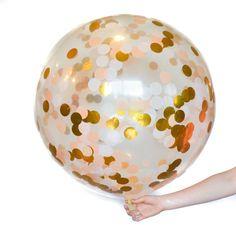 Jumbo Clear Latex Confetti Balloon with by Twigsandtwirlsllc