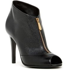 L.K. Bennett Manuela Zip-Up Leather Bootie ($198) ❤ liked on Polyvore featuring shoes, boots, ankle booties, ankle boots, leather ankle booties, open toe ankle booties, open toe booties, open toe bootie and ankle bootie boots