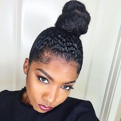 Ninja bun on natural hair Best Natural Hair Products, Natural Hair Tips, Natural Hair Growth, Natural Hair Journey, Natural Hair Styles, Natural Makeup, Bun Styles, Natural Hair Inspiration, Messy Hairstyles