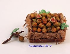 12th Scale Miniature ** Crate of Figs & a Branch **...IGMA Fellow #Linsminis
