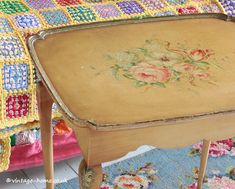 Vintage Home Shop - Pretty 1940s Hand Painted Floral Table: www.vintage-home.co.uk