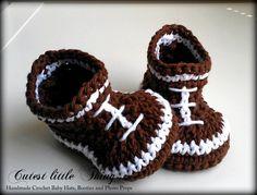 Football Crochet Baby Boy Booties, Baby Boy Boots. $21.00, via Etsy.