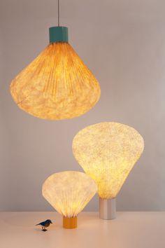 Coloured Vaporetto table lamp H 36 cm by Moustache Details: Brand: Moustache Color : Blue, Orange, Coral Material : Lacquered metal, Tyvek Characteristics : Bulb (not provided) : 1x11W