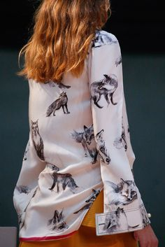 Copy some fox illustrations to a white silk shirt ala Céline Fall 2015 Ready-to-Wear Collection Photos - Vogue
