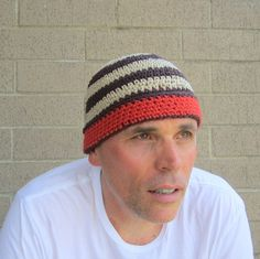 I hand crocheted this beanie with soft cinnabar, brown and beige cotton- it…