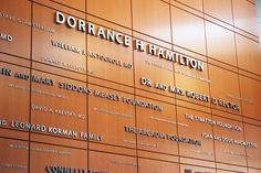 Dorrance H. Hamilton Donor Wall at Thomas Jefferson University designed by Cloud Gehshan Associates