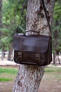 Leather Messenger Bag - 13 inch Laptop Bag - Dark Brown Leather Briefcase - Laptop Bag - Shoulder Bag - For Him