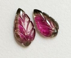Watermelon Tourmaline Hand Carved 1 Pc Leaf by gemsforjewels