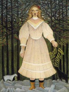 Henri Rousseau - Art Naïf - Naive Art - Young Girl in Pink.