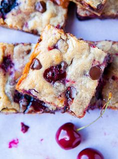 Chocolate Chip Cherry Blondies - use other fruits too, fresh or frozen!